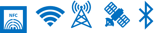 NFC, Wifi, Satellite, Bluetooth